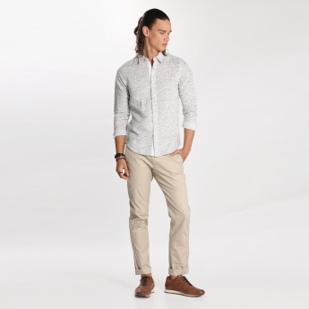 Bossini Full Length Chino Pants with Button Closure