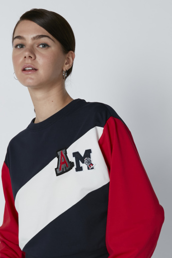 Applique Detail Crop Sweatshirt with Long Sleeves and Crew Neck