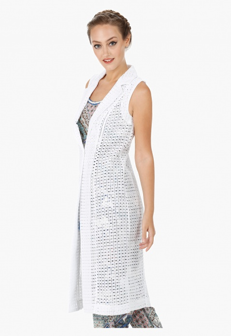 Sleeveless Long Jacket with Schiffli Work