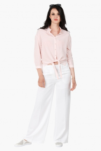 Tie-Up Cotton Shirt with 3/4 Sleeves in Regular Fit