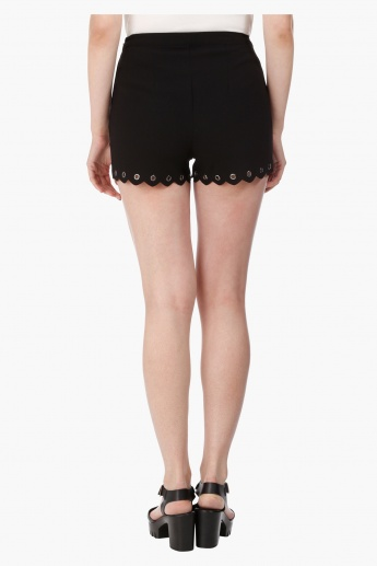 Wide Shorts with Eyelet Detail in Regular Fit