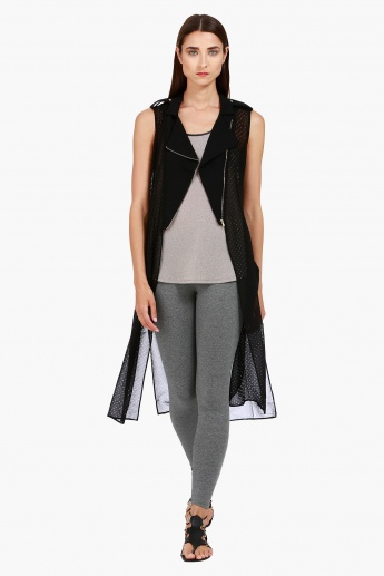 Perforated Sleeveless Longline Jacket with Notched Lapel in Regular Fit
