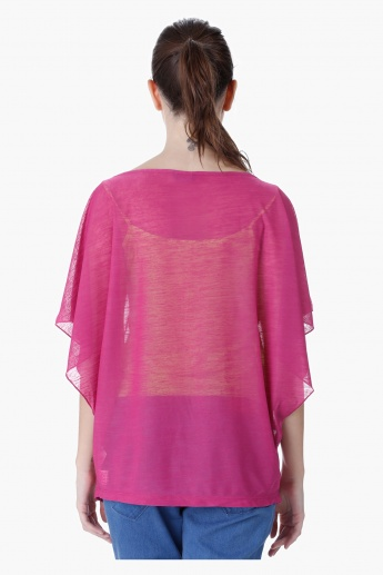 Printed Top with Kimono Sleeves