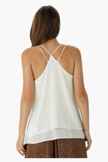 Strappy Embellished Tank Top