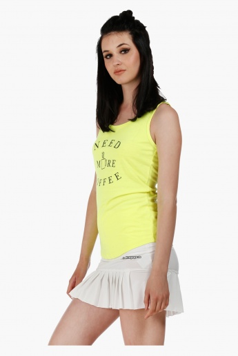 Printed Sleeveless Tank Top with Round Neck in Regular Fit