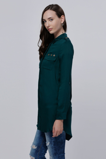 Embellished Shirt with Long Sleeves and Pocket Detail