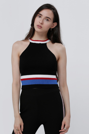 Halter Neck Striped Crop Top