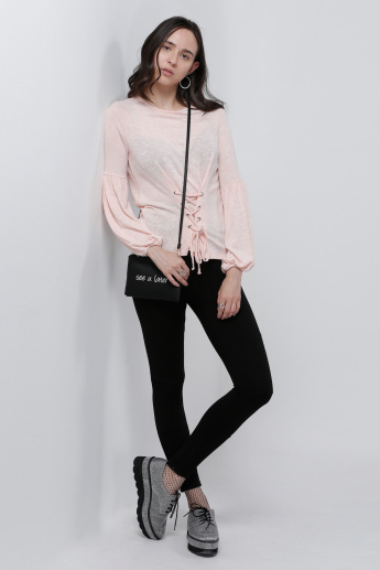 Round Neck Sweatshirt with Drawstring Detail and Balloon Sleeves