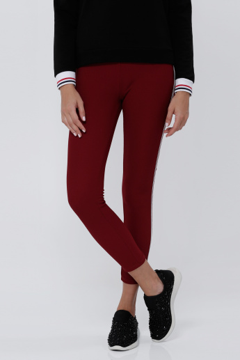 Ribbed Leggings with Contrast Side Panels