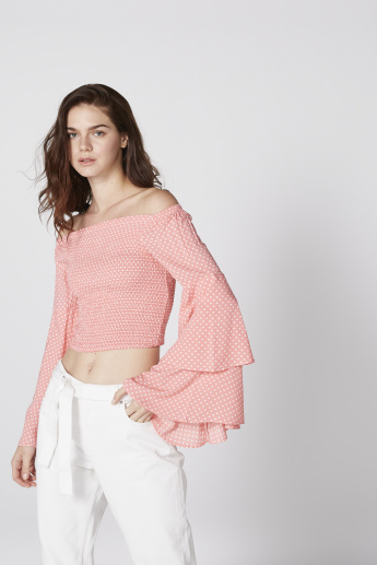 Printed Off Shoulder Crop Top with Layered Flared Sleeves