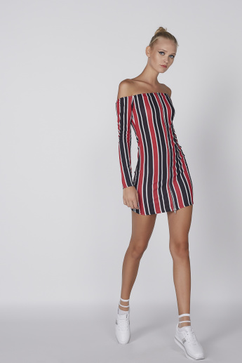 c372cc4a1052 Striped Off Shoulder Long Sleeves Mini Bodycon Dress