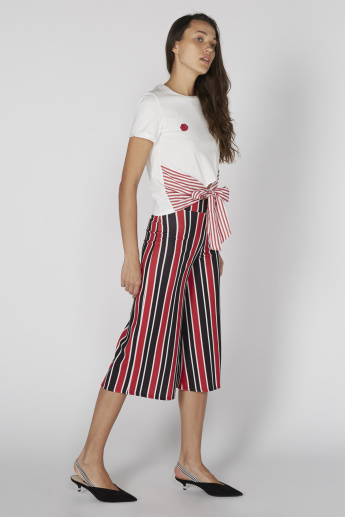 Striped Culottes With Elasticised Waistband