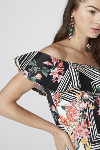 Printed Off Shoulder Mini Dress with Ruffle Detail