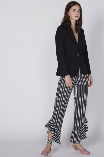 Striped Pants with Asymmetric Flared Ruffle Cuffs