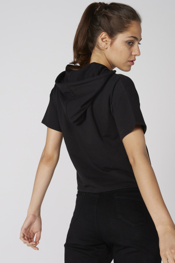 Embroidered Top with Short Sleeves and Hood