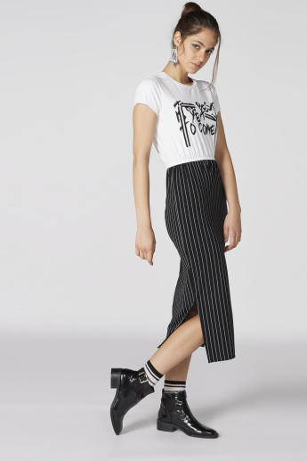Striped and Printed Dress with Side Slit and Short Sleeves