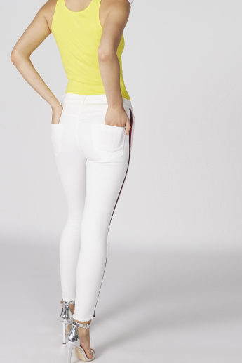 Full Length Jeans with Side Tape Detail in Skinny Fit