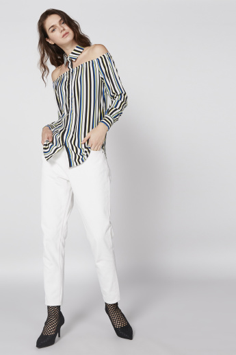 Striped Choker Neck Top with Long Sleeves and Complete Placket
