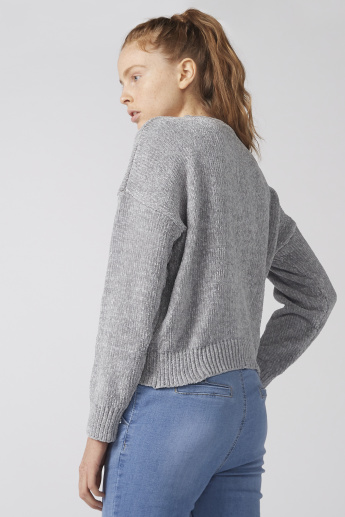 Textured Sweater with Crew Neck and Long Sleeves