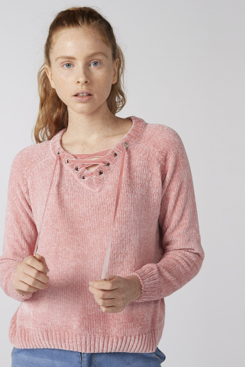 Textured Sweatshirt with Raglan Sleeves and Eyelet Detail