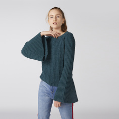 Textured Sweater with Round Neck and Flared Sleeves