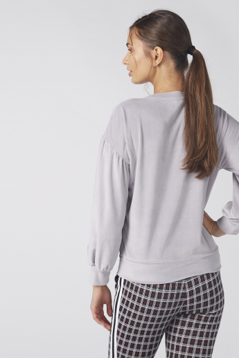 Pearl Detail Top with Round Neck and Long Sleeves