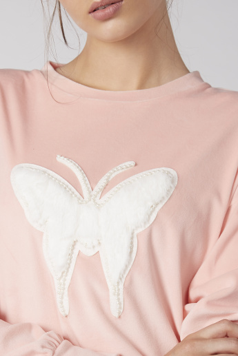 Pearl Detail Sweatshirt with Round Neck and Long Sleeves