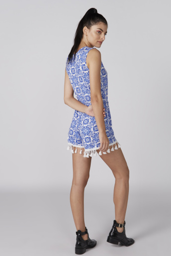 Printed Sleeveless Playsuit with Tassels