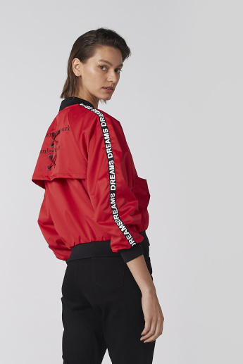 Printed Bomber Jacket with Long Sleeves and Zip Closure