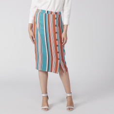 Striped Midi Pencil Skirt with Button Detail