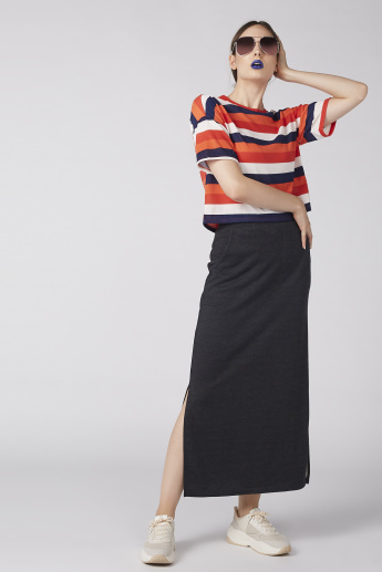 Striped T-Shirt with Drop Shoulder Sleeves