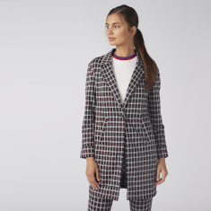 Chequered Jacket with Pocket Detail and Button Closure