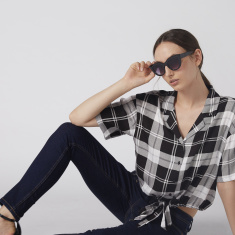 Chequered Crop Shirt with Short Sleeves and Tie Ups