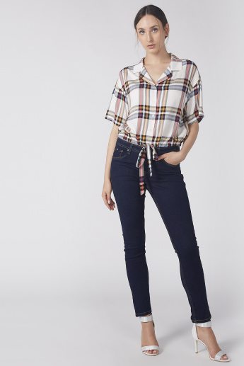 Chequered Crop Top with Knot Detail and Short Sleeves