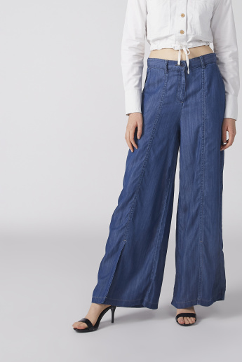 Pocket Detail Palazzo Pants with Button Closure