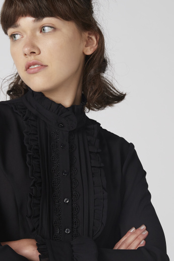 Lace and Ruffle Detail Shirt with Long Sleeves