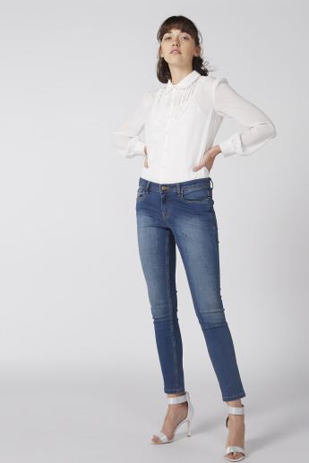 Ruffle Detail Shirt with Long Sleeves and Complete Placket