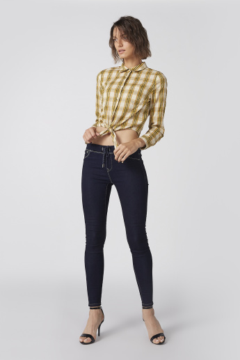 Chequered Crop Top with Long Sleeves and Front Knot Detail