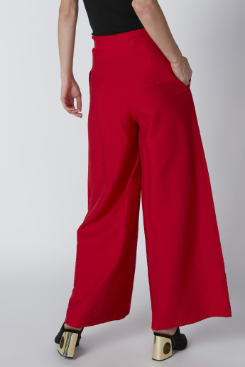 Pocket Detail Palazzo Pants with Tie Up Belt
