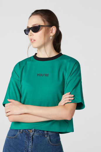 You're Right Printed Oversized T-Shirt with Short Sleeves
