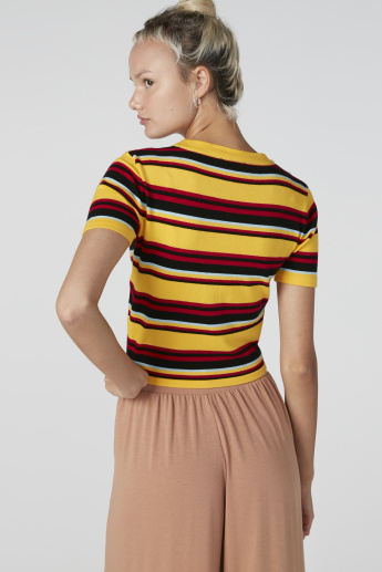 Striped Crop Top with V-Neck and Short Sleeves