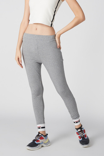 Jog Pants with Elasticised Waistband and Printed Cuffed Hem