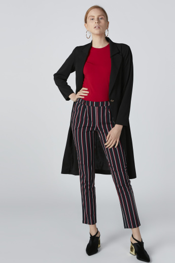 Striped Mid-Rise Trousers with Elasticised Waistband and Pocket Detail