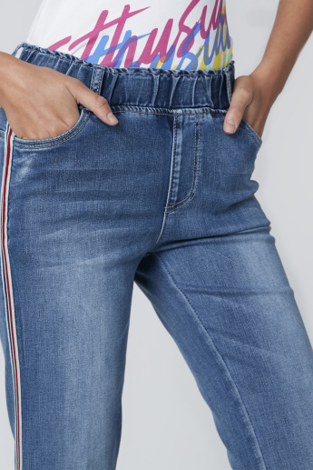 Side Tape Detail Jeans with Pocket Detail and Elasticised Waistband