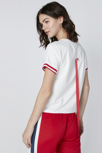 Printed T-Shirt with Short Sleeves and Tape Detail