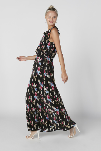 Floral Printed A-Line Maxi Dress with Tie Ups