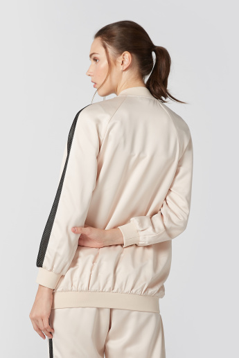 Long Sleeves Jacket with Mandarin Collar and Tape Detail