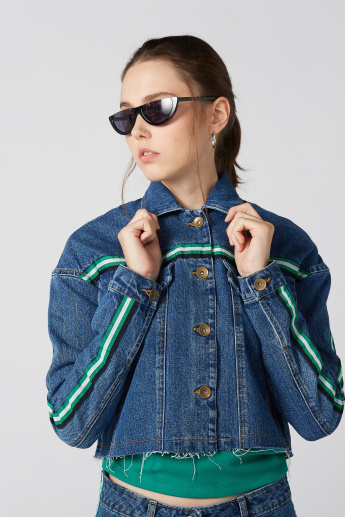 Tape Detail Denim Jacket with Long Sleeves and Button Closure