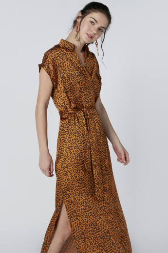 Animal Printed Maxi Dress with Extended Sleeves and Tie Ups