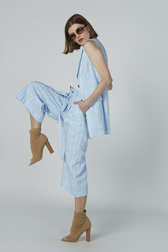 Chequered Culottes with Tie Up Belt and Pocket Detail